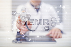 Electronic health record. EHR, EMR. Medicine and healthcare concept. Medical doctor working with modern pc.†